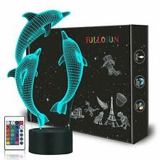 Ocean Dolphin 3D Night Light 16 Color Change Bedside Lamp Girl Kid Birthday Gift