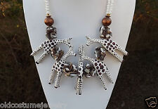 BOHO GIRAFFE FOLK NECKLACE WOOD SEASHELL SHELLS  MILK GLASS BEADS AFRICA