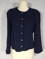 Vintage Woodstock by Bernard Dark Blue 100% Wool Button Front Sweater Women's 40