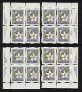 1979 Canada SC# 787 - Floral Definitive Plate No. 1 Plate Blocks of 4 M-NH #2876