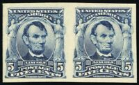 315, Mint XF OG NH Imperforate Pair 5¢ Lincoln - Very Fresh - Stuart Katz
