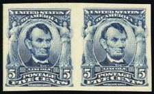 315, Mint XF OG NH Imperforate Pair 5¢ Lincoln - Very Fresh - Stuart Katz