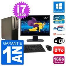 "PC LENOVO M82 SFF Screen 27 "" Intel i7-2600 RAM 16Go Disk 2To Windows 10 Wifi"