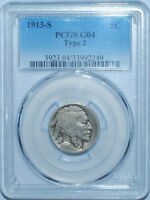 1913 S T2 PCGS G4 Type 2  Buffalo Nickel