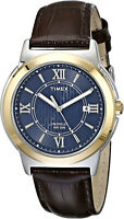 Timex Men's T2P5219J Main Street Two-Tone Stainless Steel Watch with Brown Band