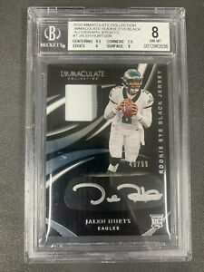 Jalen Hurts 2020 Immaculate Eye Black Auto 3Color Patch 49/99 BGS 8 Eagles RC SJ