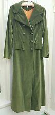 VTG 70s Womens Coat Green Velvet Steampunk Victorian Retro Princess Fitted S/M