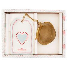Greengate Tee Ei PENNY Weiss mit Kette Teesieb Gold Anhänger mit Herz