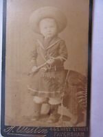 Rare, Early 1880-90 Antique CDV Photo of CHILD WEARING WESTERN OUTFIT, Whip Gift