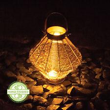 Malla de Alambre Vela Linterna lámpara de Mango de efecto cuero metal jardín luz de estado de ánimo