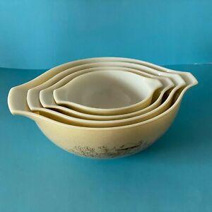Four VTG Pyrex Forest Fancies Cinderella Nesting Mixing Bowls Tan Mushroom Print