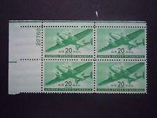 1944 #C29 20c Transport Plane Plate Block  MNH OG F/VF (Includes New Mount)