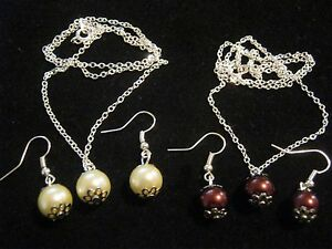 1 x Milk and 1 x Coffee Glass Necklace and Earrings Set Pretty Costume Jewellery