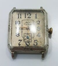 Vintage Antique Art Deco 14k White Gold Filled Paul Vallette Mens Wrist Watch