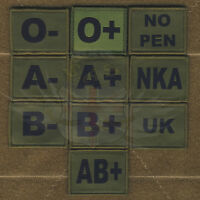 SUBDUED GREEN BLOOD,ALLERGY VELCRO® BRAND FASTENER PATCH-A+,A-,B+,B-,O+,O-,NKA