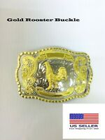 "WESTERN GOLD SHINY ""ROOSTER"" BELT BUCKLE BY U.S SELLER. FREE SHIPPING!!"