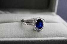 18K White Gold Plated Royal Blue Crystal Engagement Ring