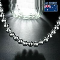 """Stunning 925 Sterling Silver Filled 10MM Solid Ball Beads Charm Necklace 20"""""""