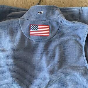 Vineyard Vines Mens XL Sweater Fleece Vest Blue -  Zipper Pockets - Flag