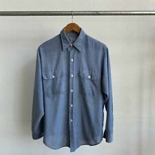 Vintage 70's Us Army Embroidered Unfinished Chambray - Large