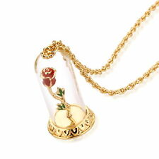 Disney Official Beauty & the Beast Gold-Plated Enchanted Rose Glass Necklace