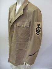 Vintage WWII Coast Guard Tan Twill Tunic Jacket with Patches
