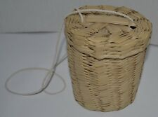 Mexican Handcrafted Woven Straw Basket Round Cylinder Mini Small Bag NEW
