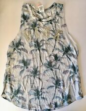 NWT Victoria's Secret Pink Palm Tree Bling Silver Sequin Muscle Top Size L