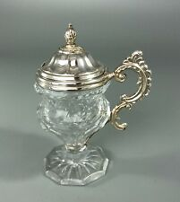 More details for 19th century continental silver & cut glass mustard pot a70017