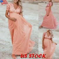 Maternity Women Sequins Dress Party Long Maxi Gown Pregnant Photography Props US