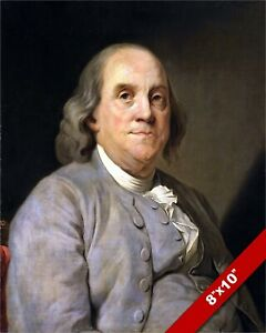 BENJAMIN FRANKLIN FOUNDING FATHER PORTRAIT PAINTING 8X10 REAL CANVAS ART PRINT