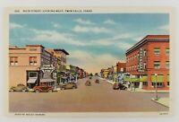 Postcard Linen Main Street Looking West Twin Falls Idaho Old Cars