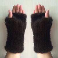 Women's Real Genuine Mink Fur Fingerless Knitted Winter Elastic Gloves Mittens