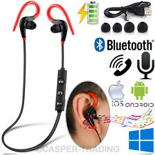 Red Sweatproof Wireless Bluetooth Headphones Earphones Sports Gym Mic for iPhone