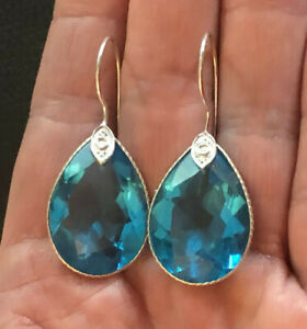 """Swiss Blue Topaz Earrings Sterling Silver Plated 32 Carats Glass India 1.6"""" 1314"""