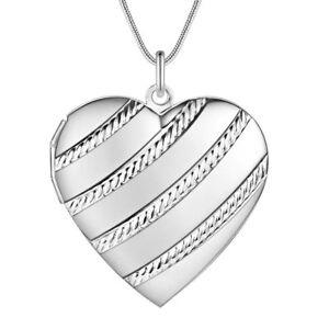 925 Silber Medallion Herz Anhänger zum öffnen 2 Fotos Medaillon Kette Unisex NEU