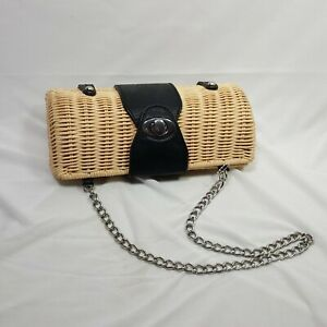 Wicker Oval Leather Accent Clutch Shoulder Bag Hide A Chain Option 5.5 Inches