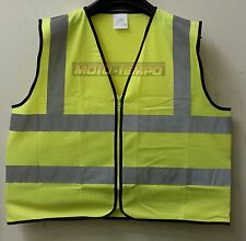 Reflective Riders Bib Vest Zip Zipped Hi Vis day glow Yellow Motorcycle