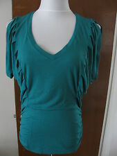 Buffalo David Britton women's emerald v-neck gathered tunic top Size XLarge NWT