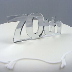 70th Cake Topper, 3mm Acrylic Mirror 10cm x 10cm (approx 6cm letter height)