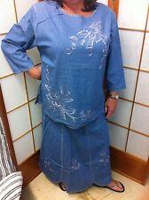 WOMEN'S DENIM 1X 2 PC Top/Shirt Skirt SET Ladies nwt embroidered 100% Cotton