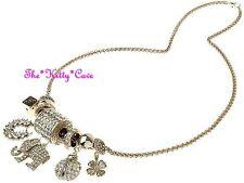 Big Designer Gold Plt Crystal Elephant Ladybug Horseshoe Charms Catwalk Necklace