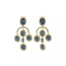 Signed Oscar de la Renta Sapphire Blue Chandelier Crystal Gold Drop Earrings