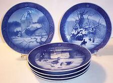 """6 Royal Copenhagen Denmark cobalt blue 7"""" collector plates 1966 67 69 71 72 79"""