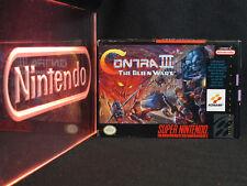 Super Nintendo SNES Contra III Alien Wars CIB Complete in Box with Papers RARE