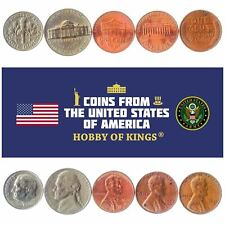 5 DIFFERENT COINS FROM USA, UNITED STATES LINCOLN, JEFFERSON, ROOSEVELT 1944-NOW