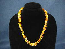 "Baltic Egg Yolk Butterscotch Natural Graduated Amber Beaded Necklace 23.5"" 42g"