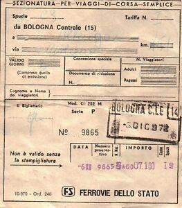 BIGLIETTO DEL TRENO - BOLOGNA CENTRALE ALBENGA - 1972