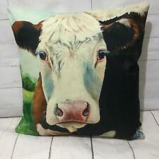 """Iris"" White Face Cow Cushion Cover Funny Farm Animal Vintage Retro Printed Gift"