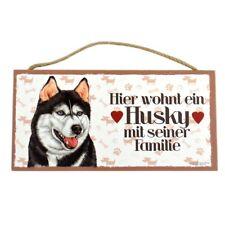 Holzschild Hundeschild 25 cm x 12,5 cm Hund Schild innen Deko Siberian Husky